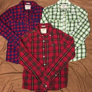 3pc mens lot A&f thermal flannel button up shirts